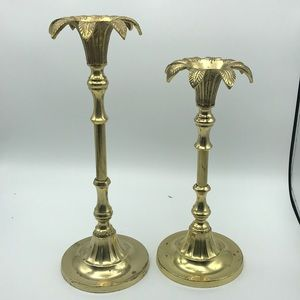 Vintage Brass Pineapple Candle Sticks Set of 2